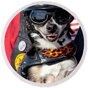 Motorcycle Chihuahua Round Beach Towel