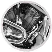 Motorcycle Close-up Bw 1 Round Beach Towel