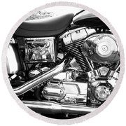 Motorcycle Close-up Bw 3 Round Beach Towel