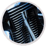 Motorcycle Engine Round Beach Towel