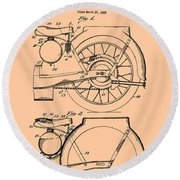Motorcycle Patent 1925 Round Beach Towel