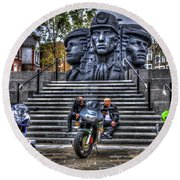 Motorcycle Rally 4 Round Beach Towel