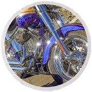 Motorcycle Without Blue Frame Round Beach Towel