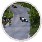 Motorcycles And Bicycles Round Beach Towel