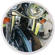 Motorcyle Classic Headlight Round Beach Towel