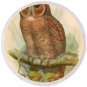 Mottled Wood Owl Round Beach Towel