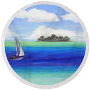 Motu Sailing Round Beach Towel