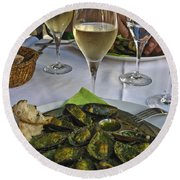 Moules And Chardonnay Round Beach Towel by Allen Sheffield