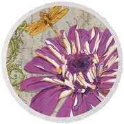 Moulin Floral 2 Round Beach Towel