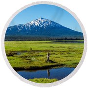 Mount Bachelor And Meadow Round Beach Towel