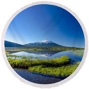 Mount Bachelor And Sparks Lake Round Beach Towel