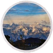 Mount Baldy On A New Years Eve Round Beach Towel