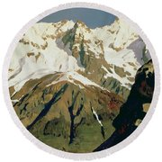 Mount Blanc Mountains Round Beach Towel