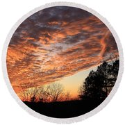 Mount Cheaha Sunset-alabama Round Beach Towel