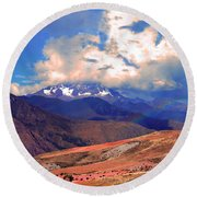 Mount Chicon Rainbow In Andes Round Beach Towel