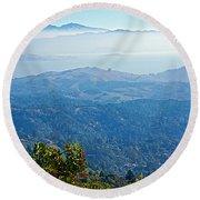 Mount Diablo From Mount Tamalpias-california Round Beach Towel