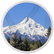 Mount Hood Mountain Oregon Round Beach Towel by Jennie Marie Schell