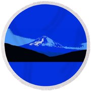 Mount Hood Panoramic Round Beach Towel