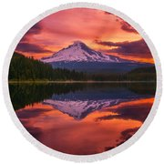 Mount Hood Sunrise Round Beach Towel