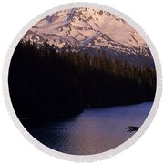 Mount Hood With Kids In Row Boat Silhouetted Round Beach Towel