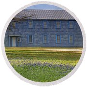 Mount Horeb Masonic Lodge 137 With Bluebonnets Round Beach Towel