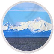 Mount Iliamna Across Cook Inlet From Ninilchik-alaska Round Beach Towel