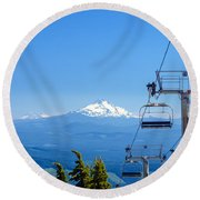 Mount Jefferson And Chairlifts Round Beach Towel