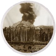 Mount Lassen Volcano California 1914 Round Beach Towel
