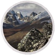 Mount Monolith From Grizzly Lake Round Beach Towel