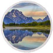 Mount Moran At Sunrise Round Beach Towel