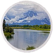 Mount Moran From Oxbow Bend N Grand Teton National Park-wyoming Round Beach Towel
