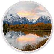 Mount Moran Reflection Sunset Round Beach Towel
