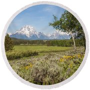 Mount Moran View Round Beach Towel by Brian Harig