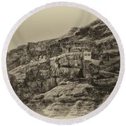 Mount Of The Temptation Monestary Jericho Israel Antiqued Round Beach Towel