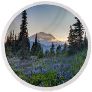 Mount Rainer Flower Fields Round Beach Towel
