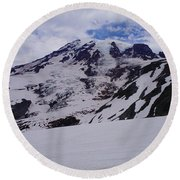 Mount Rainer In The Clouds Round Beach Towel