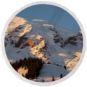 Mount Rainier Alpenglow Round Beach Towel