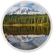 Mount Rainier And Reflection Lakes In The Fall Round Beach Towel