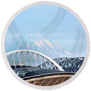 Mount Rainier Backdrop Round Beach Towel