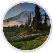 Mount Rainier Evening Fog Round Beach Towel