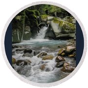 Mount Rainier Falls Round Beach Towel