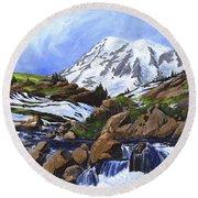 Mount Rainier From Edith Creek Round Beach Towel