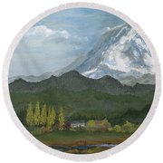 Mount Rainier From Lake Rap John  Round Beach Towel
