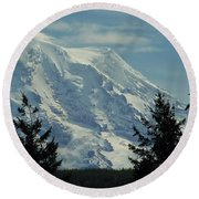 Mount Rainier From Patterson Road Round Beach Towel