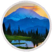 Mount Rainier Goodnight Round Beach Towel by Inge Johnsson