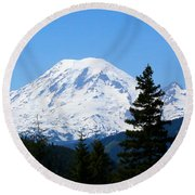 Mount Rainier Panorama Round Beach Towel