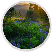 Mount Rainier Sunburst Round Beach Towel by Inge Johnsson