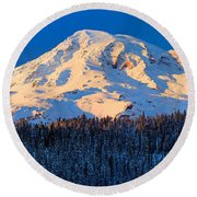 Mount Rainier Winter Evening Round Beach Towel