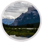 Mount Rundle And Vermilion Lake Round Beach Towel
