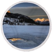 Mount Rundle And Vermillion Lakes Round Beach Towel